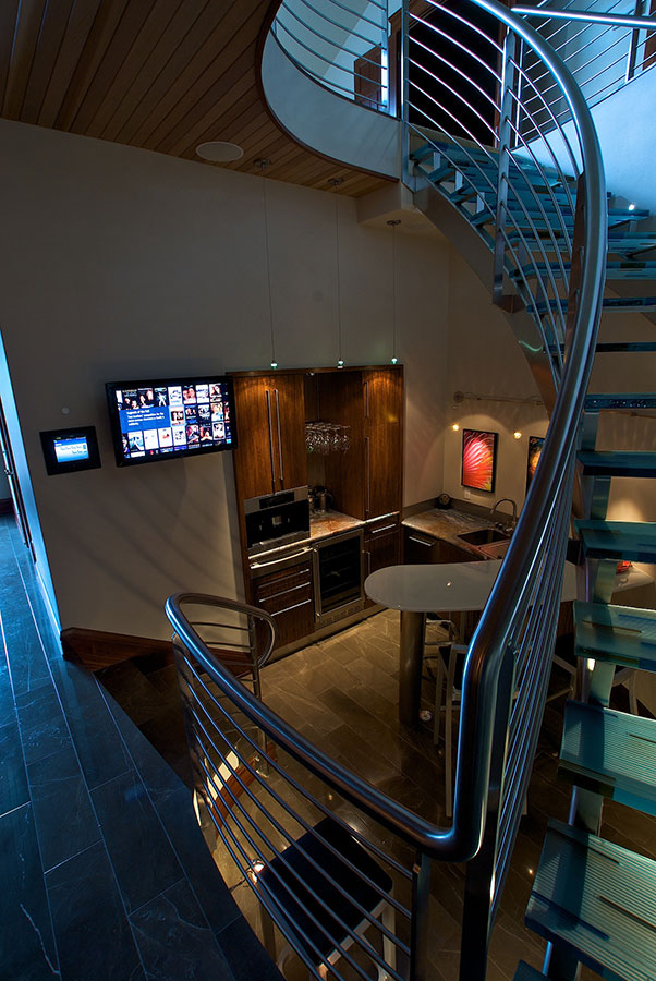 Custom staircase design in a modern home remodel and design. Rebecca Olsen Designs, Salem, OR