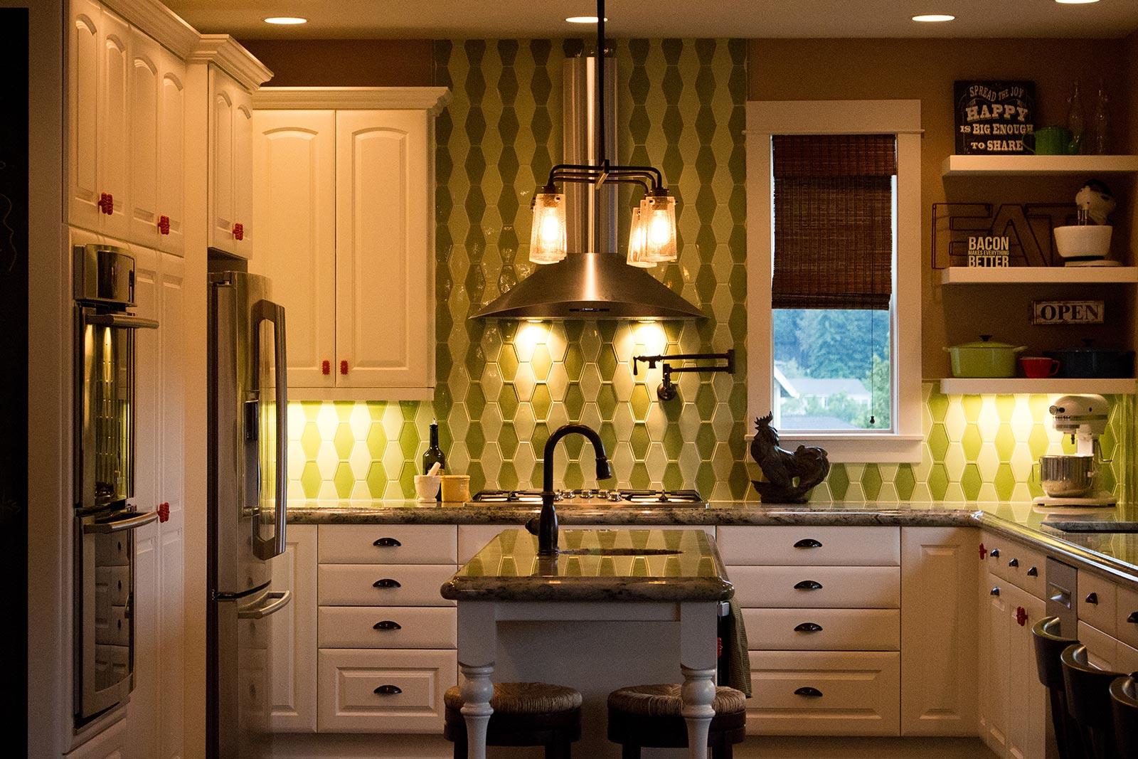 Colorful eclectic kitchen design. Interior Designer Salem OR - Rebecca Olsen Design Firm