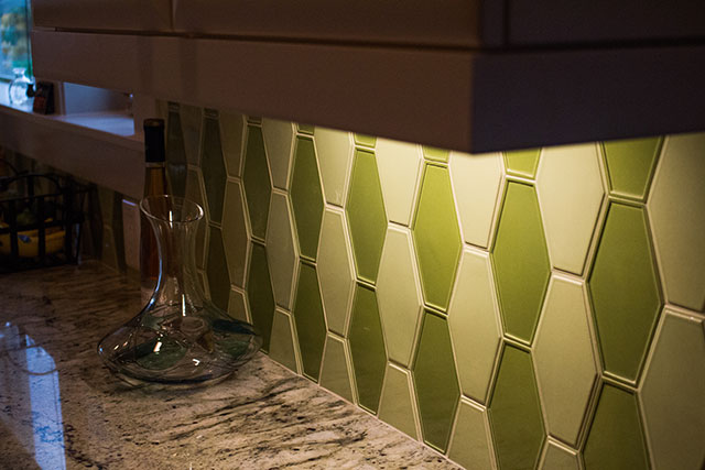 Anne Sacks custom tile in new kitchen design. Interior Designer Salem OR - Rebecca Olsen Design