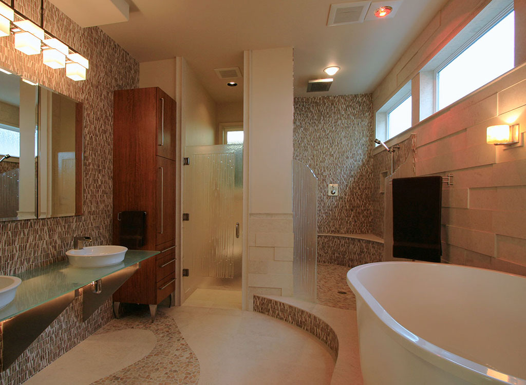 Custom master bathroom design in a modern coastal home remodel. Rebecca Olsen Designs, Salem, OR