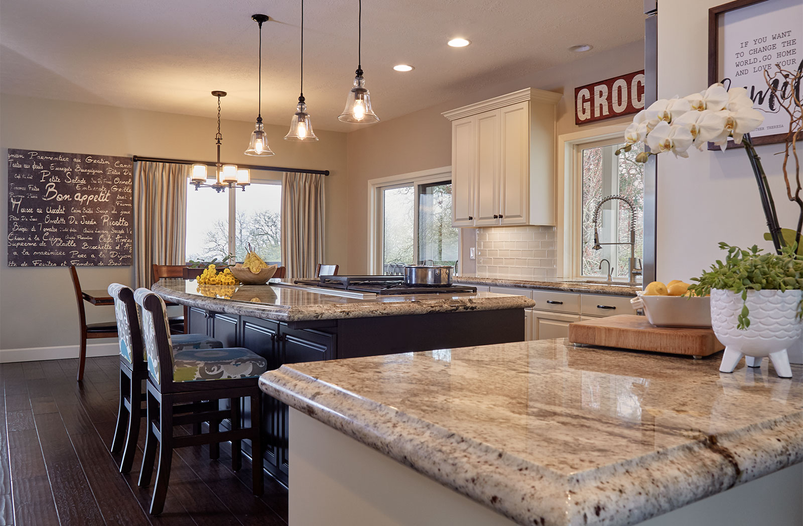 Large island feature in this kitchen design and remodel by interior designer Becky Olsen, Rebecca Olsen Designs, Oregon